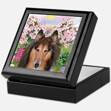 Blossoms - Collie (H) Keepsake Box