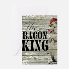 funny pig bacon king Greeting Cards