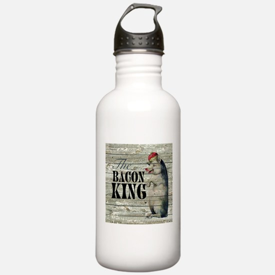 funny pig bacon king Water Bottle