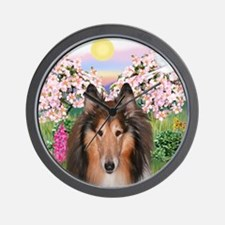 Blossoms - Collie (H) Wall Clock