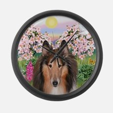 Blossoms - Collie (H) Large Wall Clock