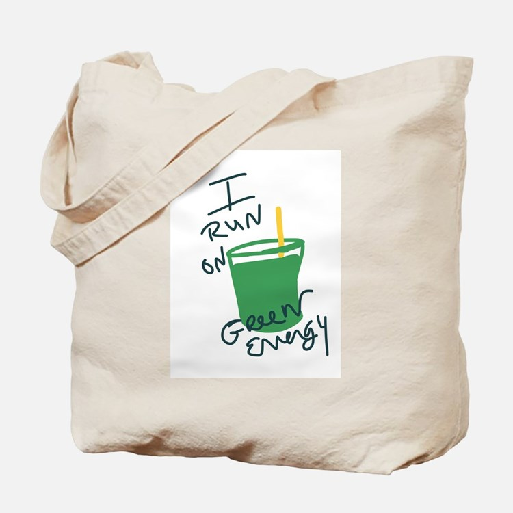 I run on Green Energy Tote Bag