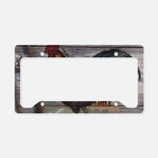 rustic farm country rooster License Plate Holder