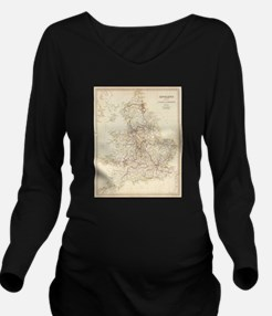 Vintage Map of Engla Long Sleeve Maternity T-Shirt