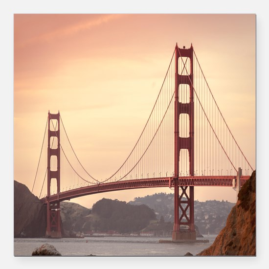 "Beautiful Golden Gate Br Square Car Magnet 3"" x 3"""