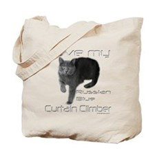 Russian Blue Cat Curtain Climber Tote Bag