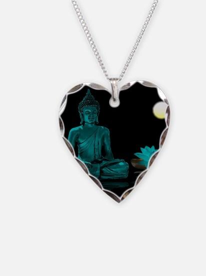 Teal Colour Buddha Necklace Heart Charm