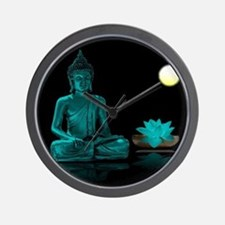 Teal Colour Buddha Wall Clock