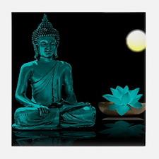 Teal Colour Buddha Tile Coaster