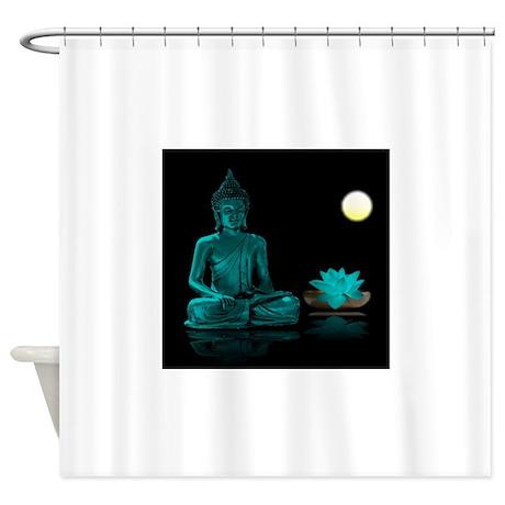 Teal Colour Buddha Shower Curtain By Admin CP74656649