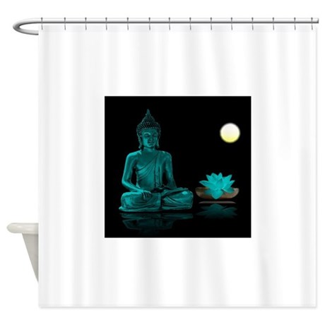 Teal Colour Buddha Shower Curtain