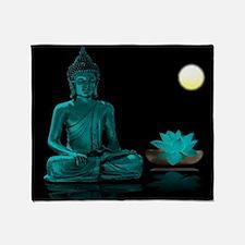 Teal Colour Buddha Throw Blanket