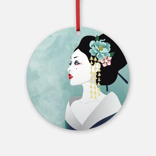Japanese Woman Ornament (Round)