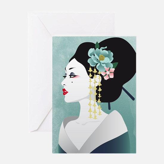 Japanese Woman Greeting Cards