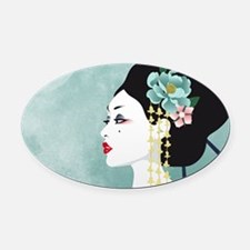 Japanese Woman Oval Car Magnet