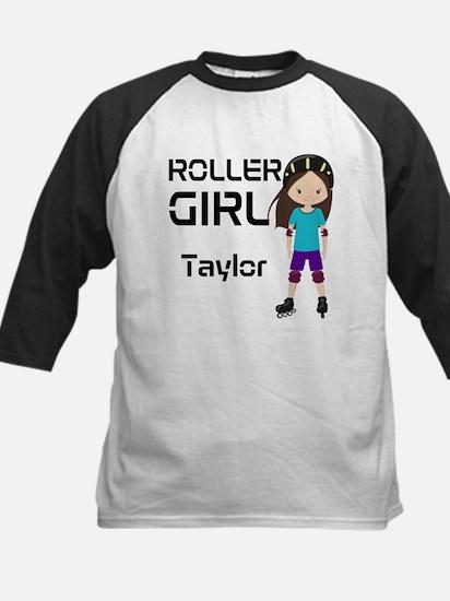 Rollergirl Brunette Kids Baseball Jersey