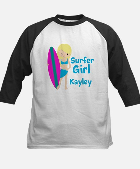 Surfer Girl Blonde Kids Baseball Jersey