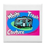White Trash Couture BluePink Tile Coaster