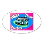 White Trash Couture BluePink Oval Sticker