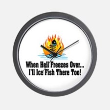 Hell Freezes Ice Fishing Wall Clock