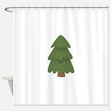 Cartoon Evergreen Tree Shower Curtain