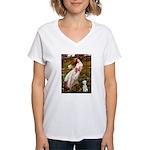 Windflowers/Bedlington T Women's V-Neck T-Shirt