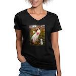 Windflowers/Bedlington T Women's V-Neck Dark T-Shi