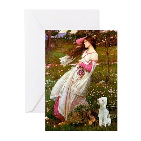 Windflowers/Bedlington T Greeting Cards (Pk of 10)