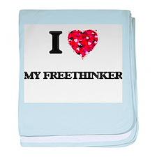 I Love My Freethinker baby blanket