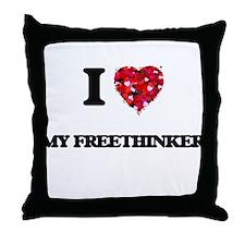 I Love My Freethinker Throw Pillow