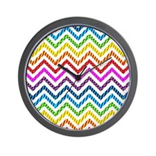 Wild Rainbow Chevron Wall Clock