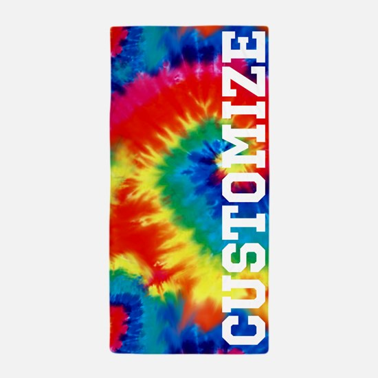 Personalized Retro Tie Dyed Pattern Beach Towel