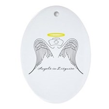 Angels in Disguise Oval Ornament