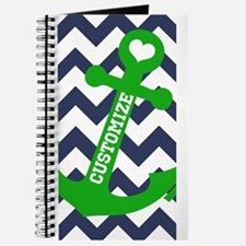 Personalized Blue Green Chevron Anchor Journal
