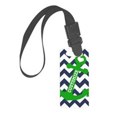 Personalized Blue Green Chevron Anchor Luggage Tag