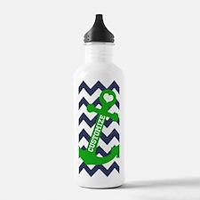 Personalized Blue Green Chevron Anchor Water Bottl