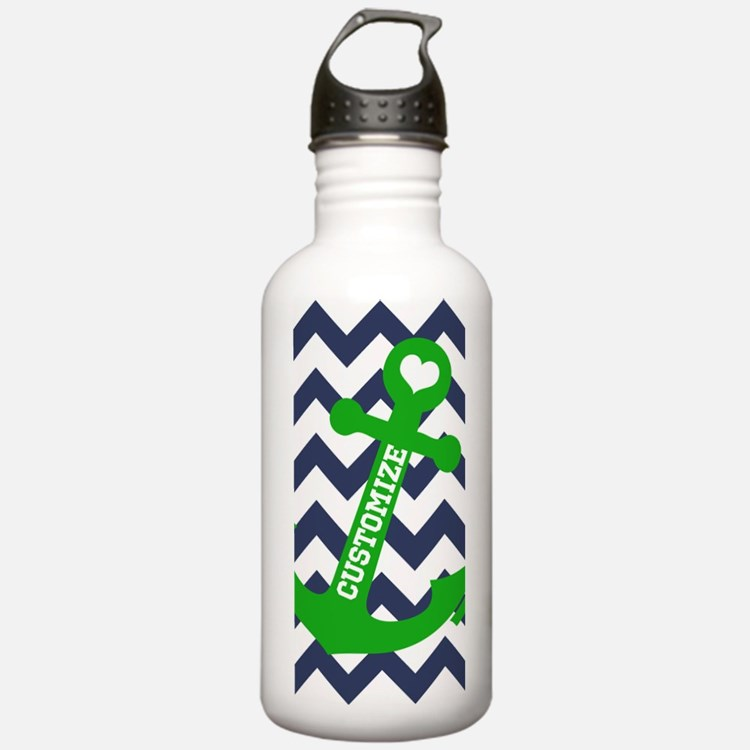 Personalized Blue Green Chevron Anchor Water Bottl