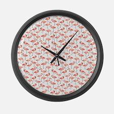 Flamingo Party Large Wall Clock