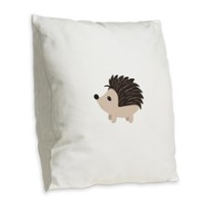 Cartoon Porcupine Burlap Throw Pillow