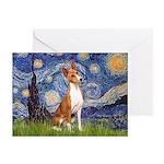 Starry Night & Basenji Greeting Card