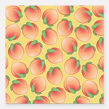 """Cute Peach Pattern Square Car Magnet 3"""" x 3"""""""