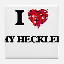I Love My Heckler Tile Coaster