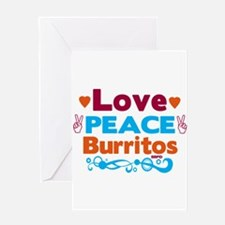Love Peace Burritos Greeting Cards
