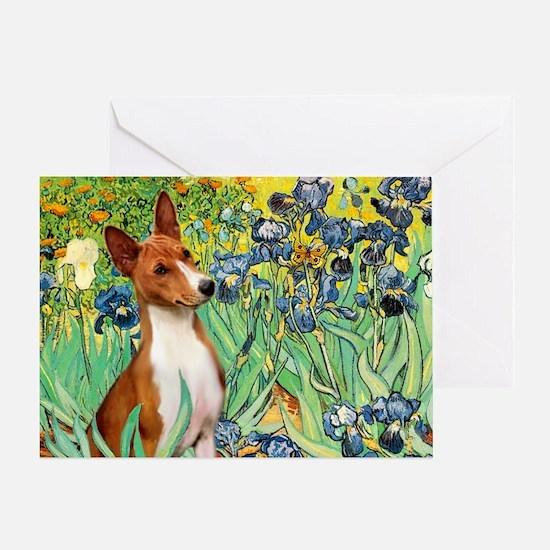 Basenji in Irises Greeting Card