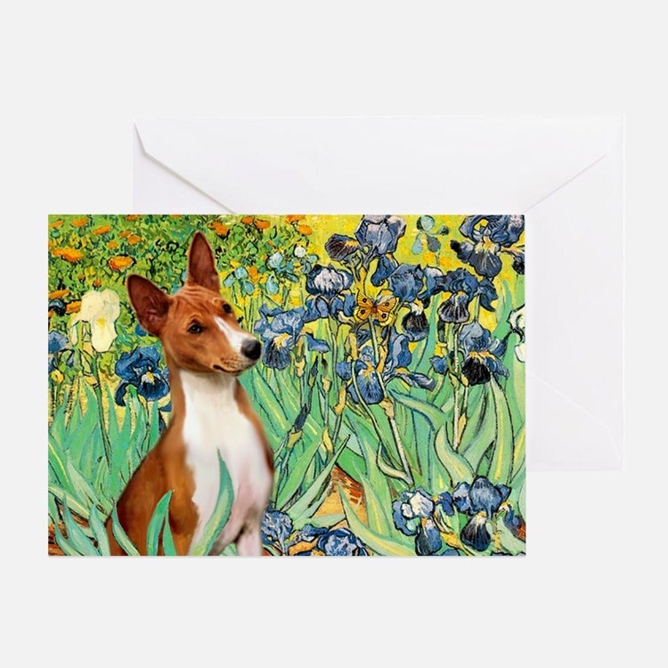 Basenji in Irises Greeting Card
