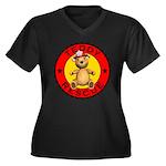 Teddy Bear Rescue Women's Plus Size V-Neck Black T