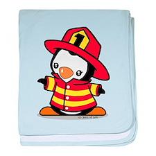 Firefighter Penguin (a) baby blanket