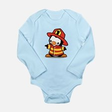 Firefighter Penguin (a Long Sleeve Infant Bodysuit