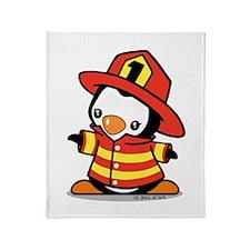 Firefighter Penguin (a) Throw Blanket