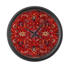 Persian Mashad Rug Large Wall Clock